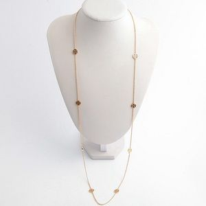 TORY BURCH ROSARY LOGO STRAND GOLD TONE NECKLACE